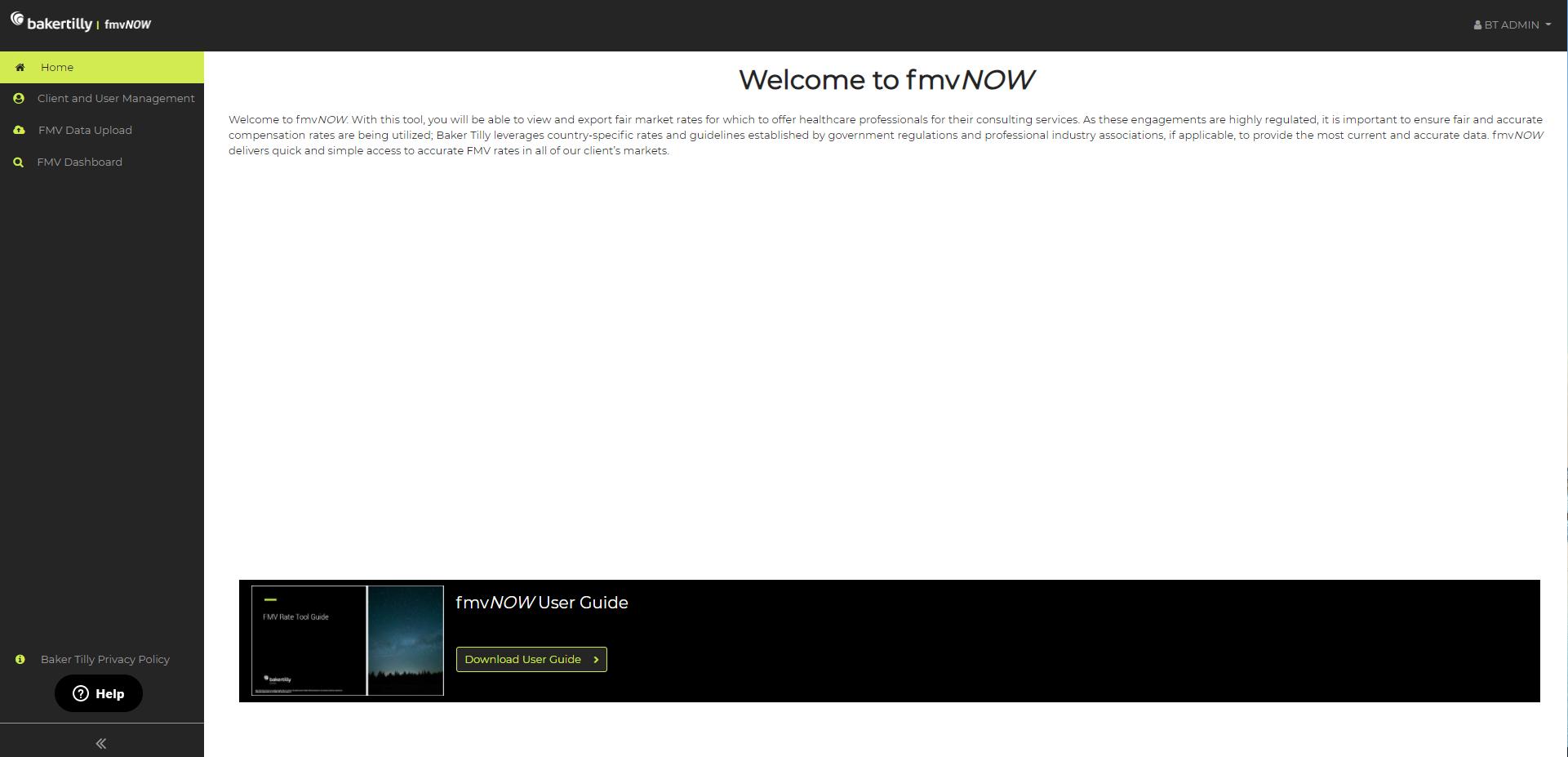 fmvNOW home screen for Fair Market Value (FMV) tool