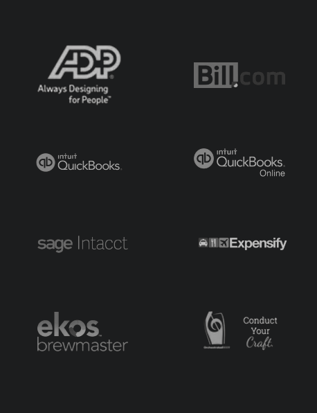 Tech partner logos: ADP, Bill.com, QuickBooks, Sage Intacct, Expensify, Ekos Brewmaster, Orchestrated Beer