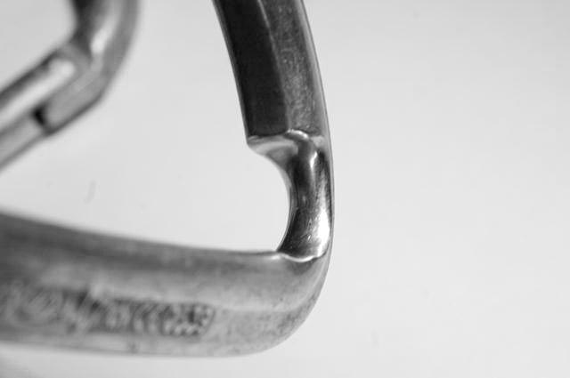 Detailed photo of a rope-worn carabiner