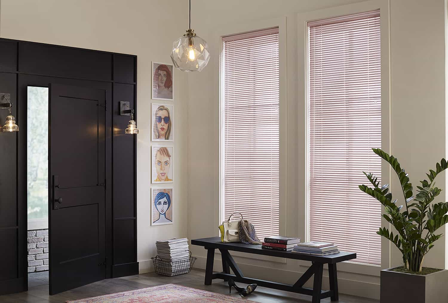 modern entryway with black trim and pink mini blinds.
