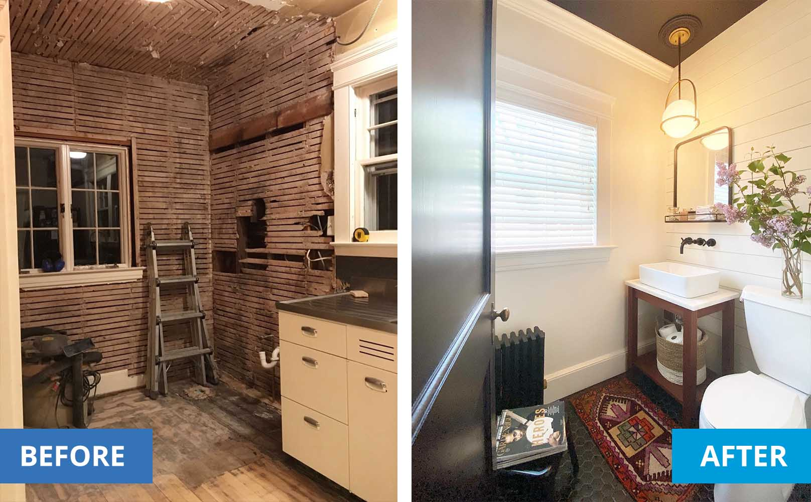 left is a gutted bathroom. Right is the same bathroom with new drywall, new toilet and sink, new tiles, faux wood blinds and light fixtures.