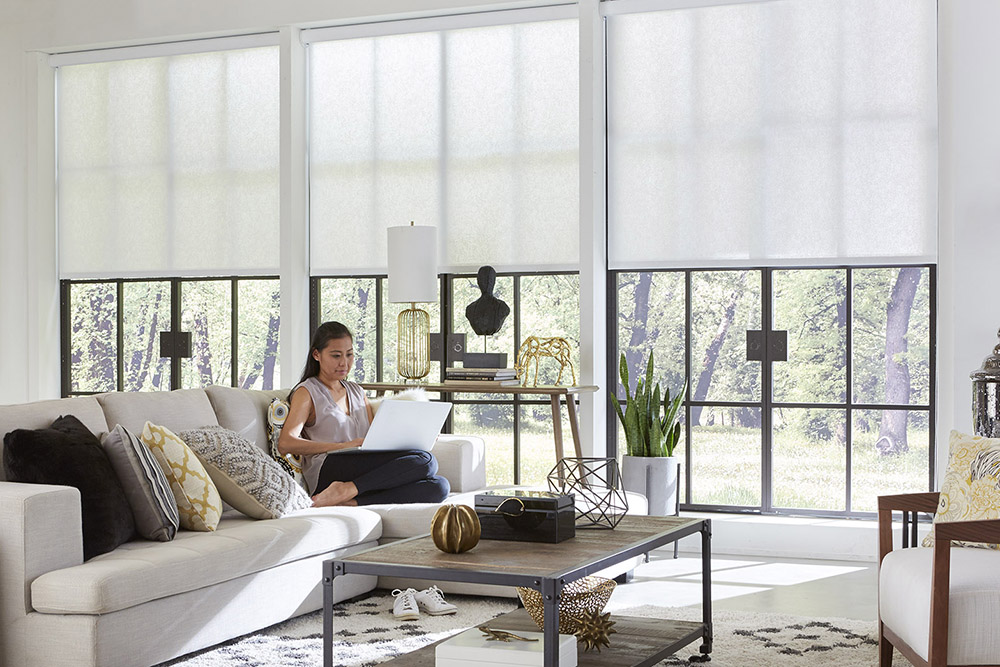 woman sitting on a couch with a laptop. Solar shades are over the windows.