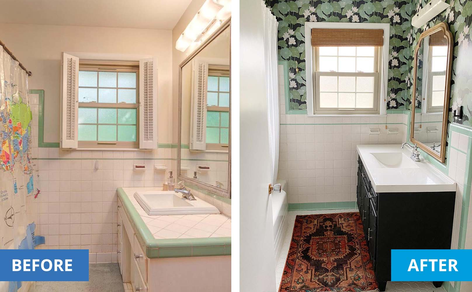 left is a kitschy tiles bathroom. Right shows the same bathroom. with fresh wallpaper, woven wood shades and a new vanity.