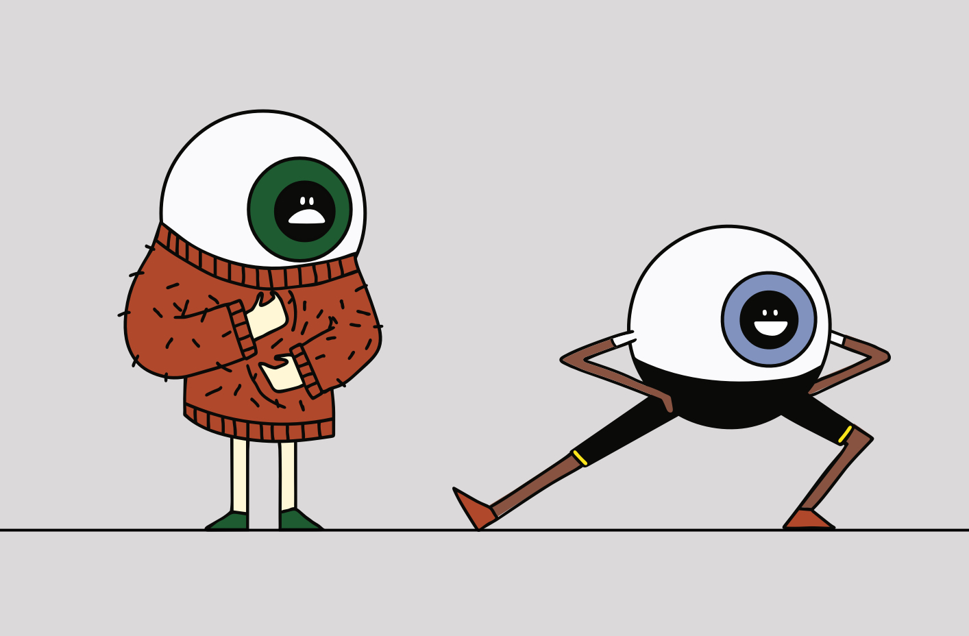 cartoon of eyeballs with scratchy sweater and another one in active wear