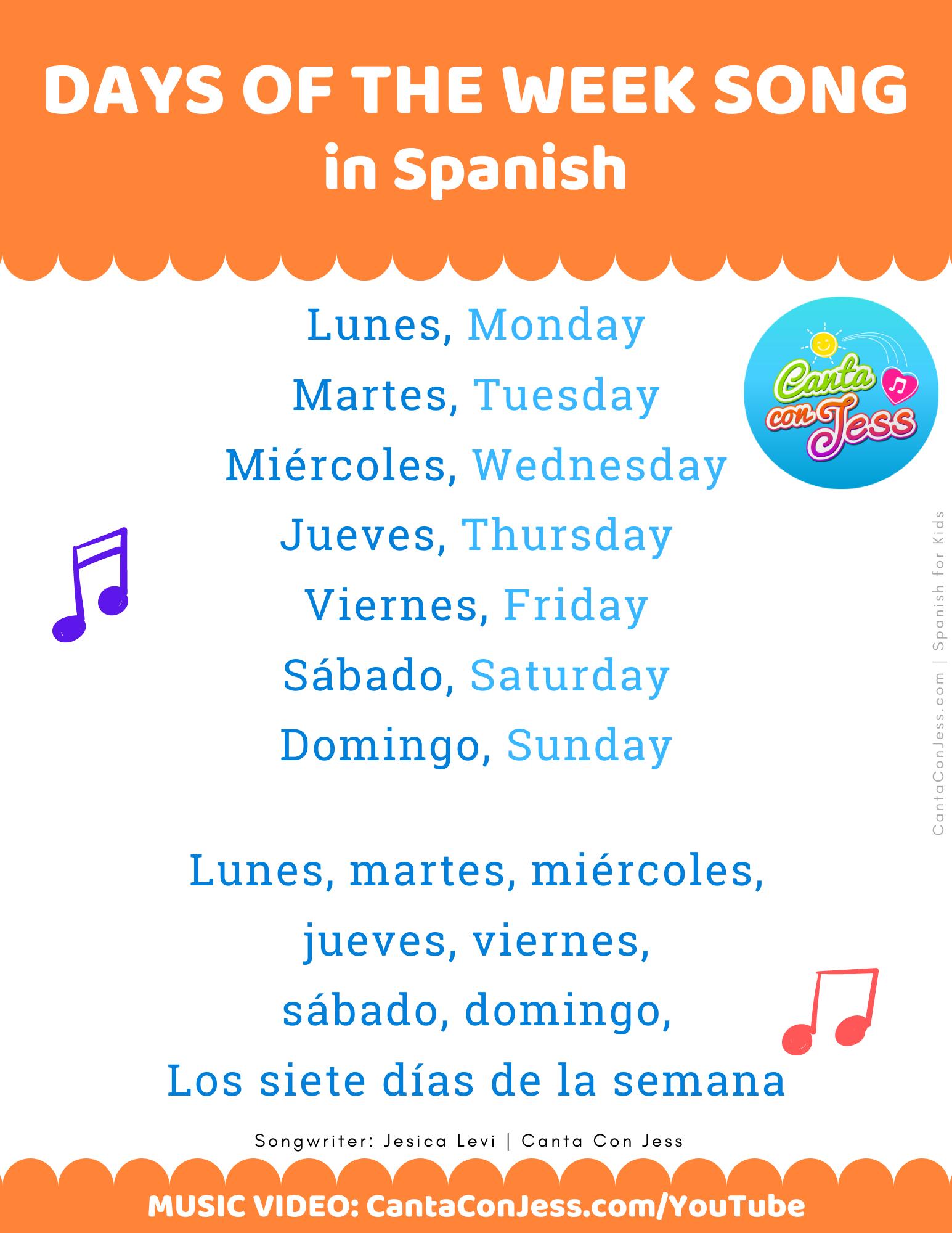 Days of the Week Song in Spanish LYRICS