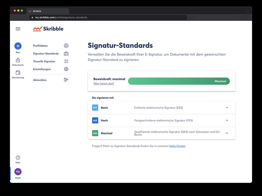 Die verfügbaren Signatur-Standards auf der E-Signing-Platform von Skribble (Quelle: Skribble)