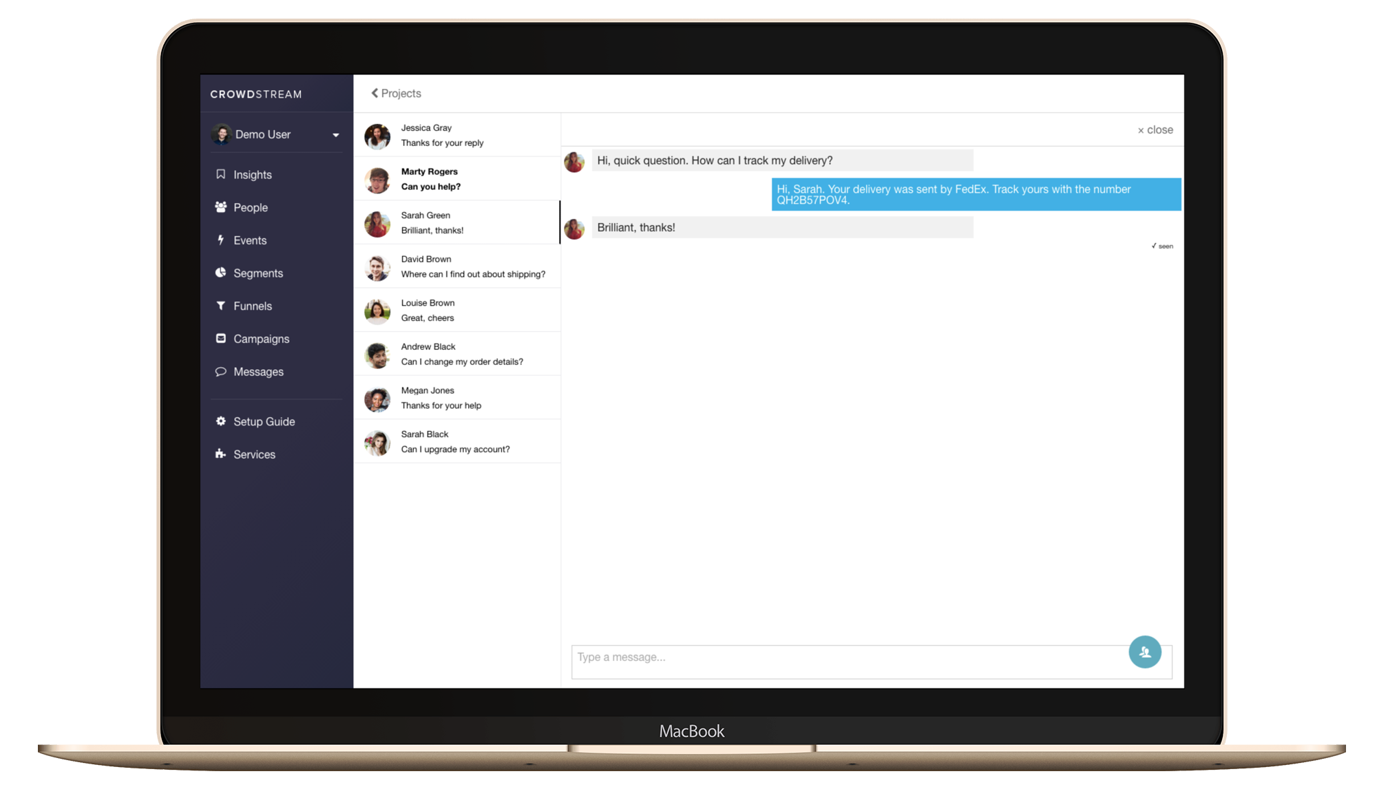 live chat messenger dashboard