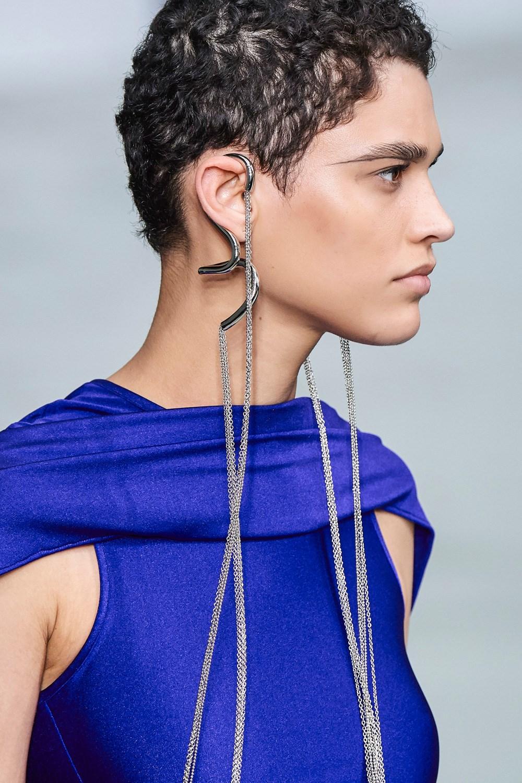 Mugler Runway Details Long Cuff Earrings in Silver Cape Dress in Blue Spring 20