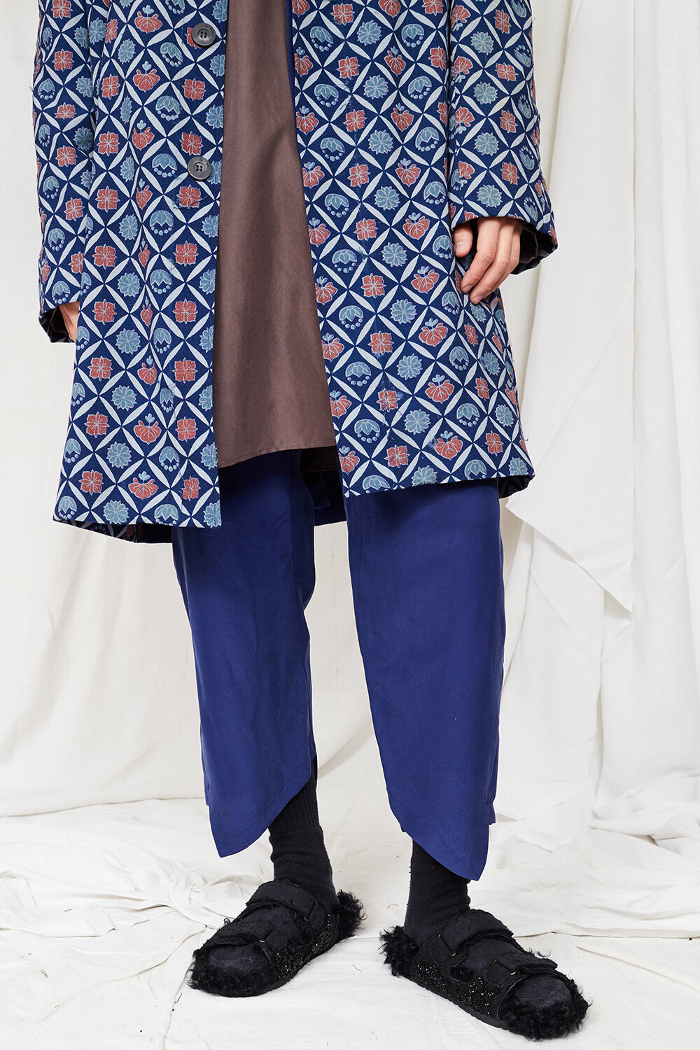 By Walid Campaign Burt Trousers in Blue 18th Century Ecclesiastical Sandals in BlackAW20