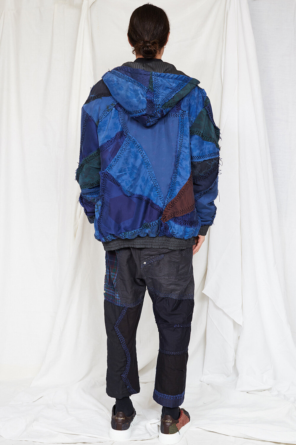 By Walid Campaign Phoenix Patch Work Hoddie in Navy AW20