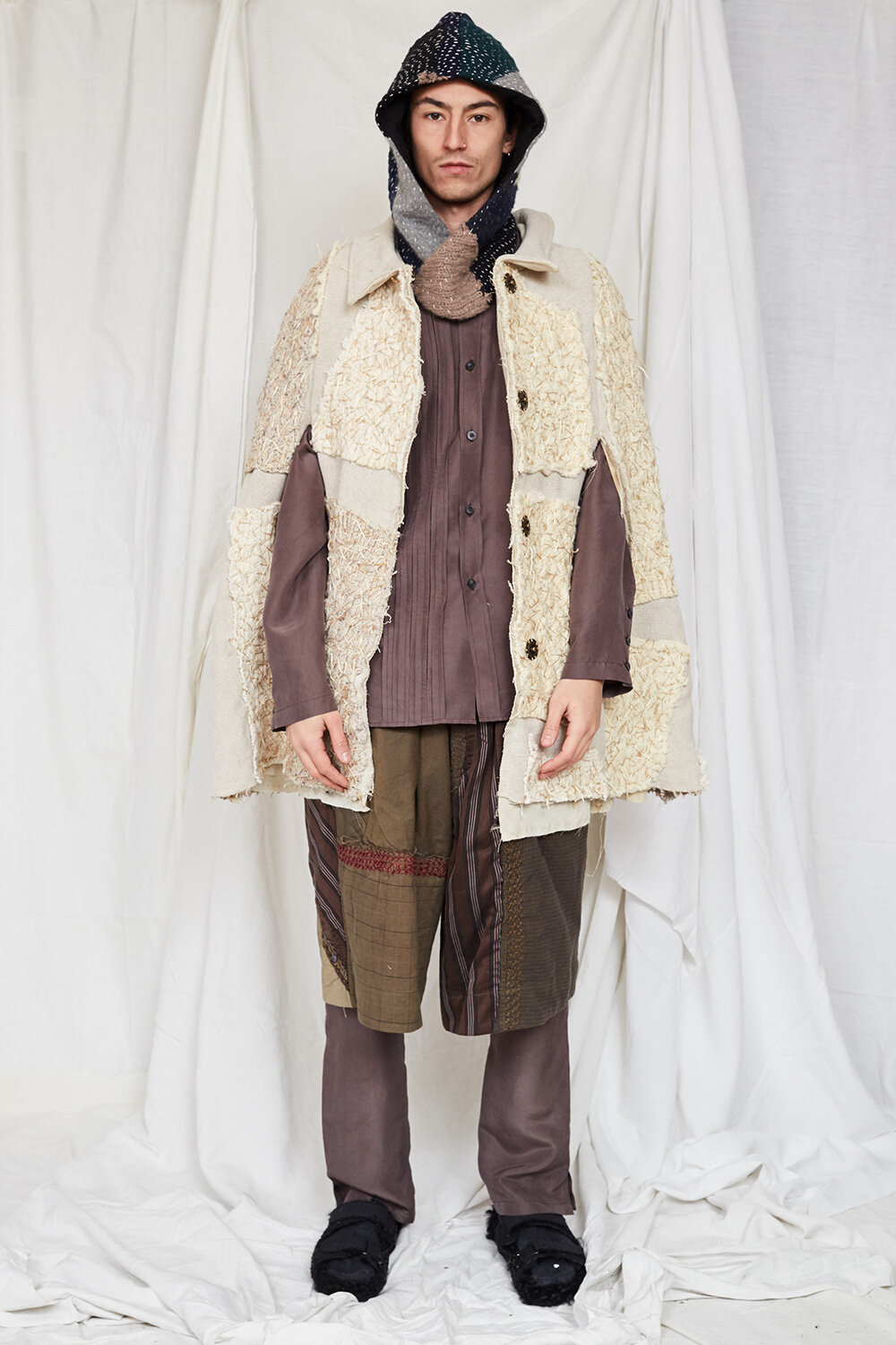 By Walid Campaign Patch Work Cloak in Cream AW20