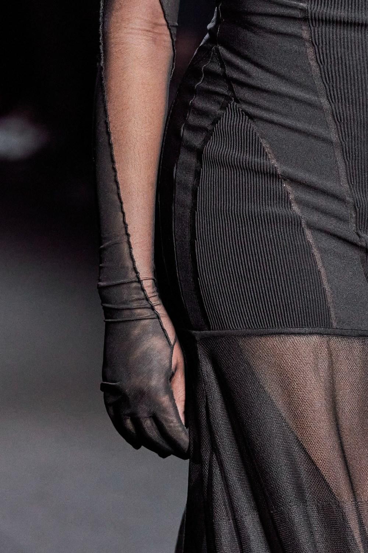 Mugler Runway Details Sheer Glove Sleeved Panel Dress in Black Fall 20 RTW
