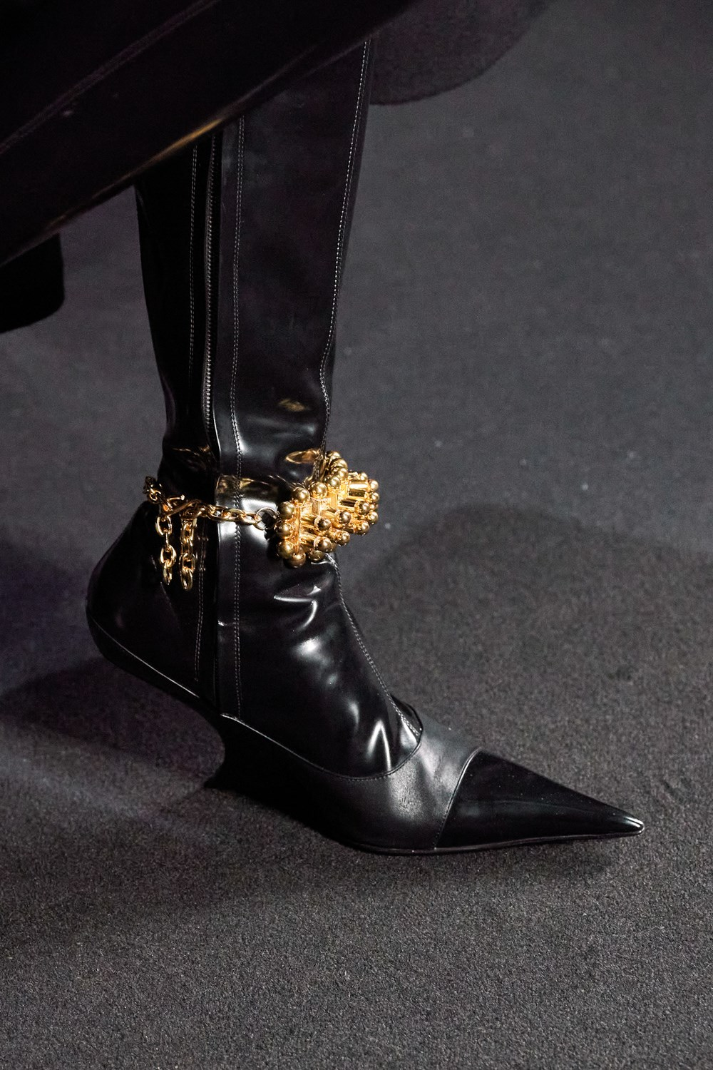 Mugler Runway Details High Wedge Pointed Heels with Jewelry Details Fall 20 RTW