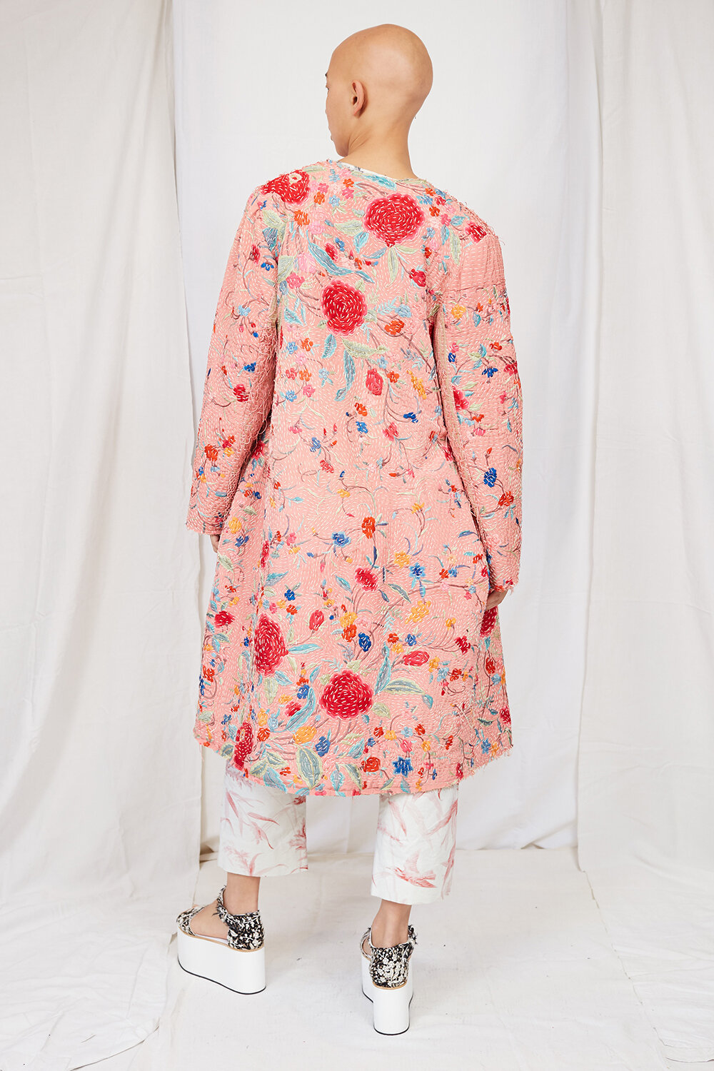 By Walid Womenswear Tanita Piano Shawl Floral Embroidered Silk Coat Back SS20