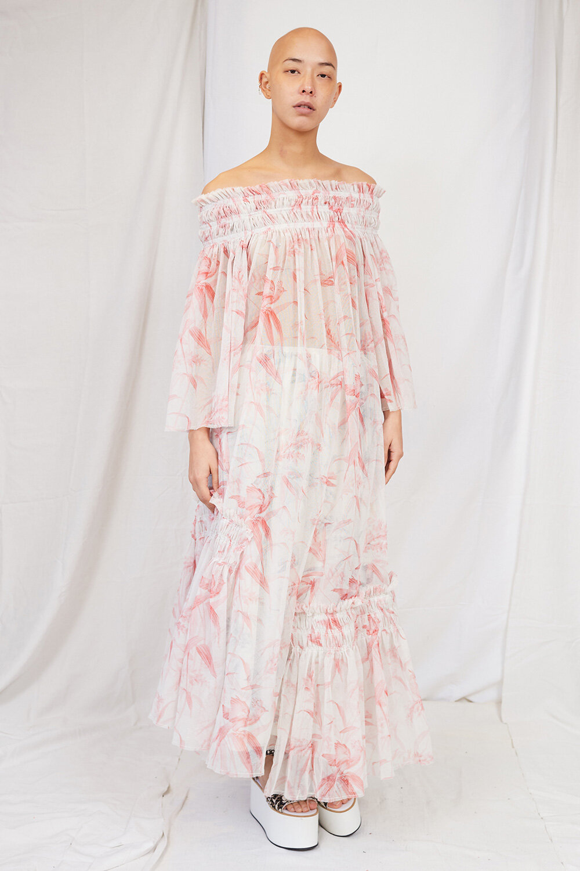 By Walid Womenswear Rosie Papagayo Bird-Print Cotton Lawn Dress Front SS20