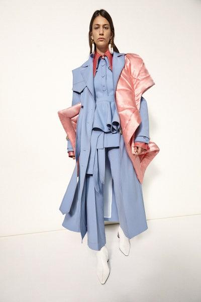Ellery Oversized Contrast Draped Coat in Blue Fall 19 RTW