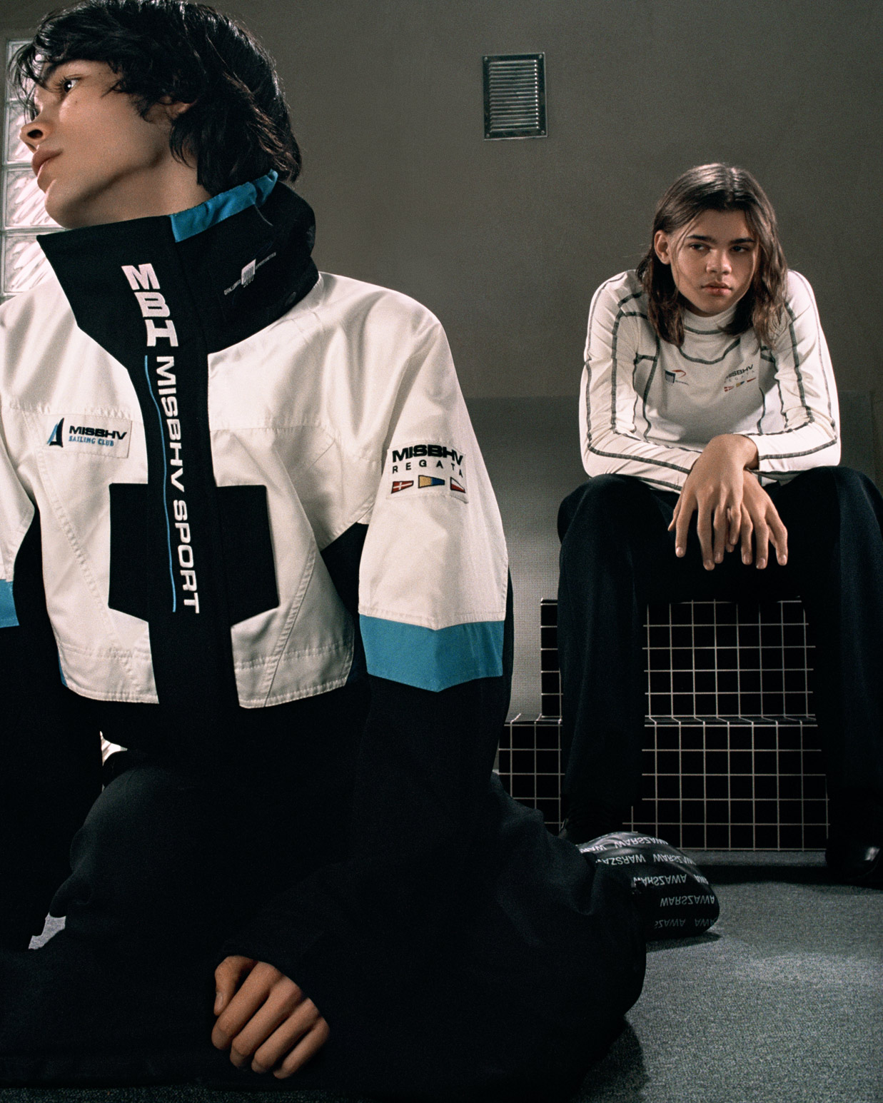 Misbhv Men's Campaign Sport Sailing Jacket Cropped Sailing Fitted Top White Warszawa Moon Trainer in Black and White SS20