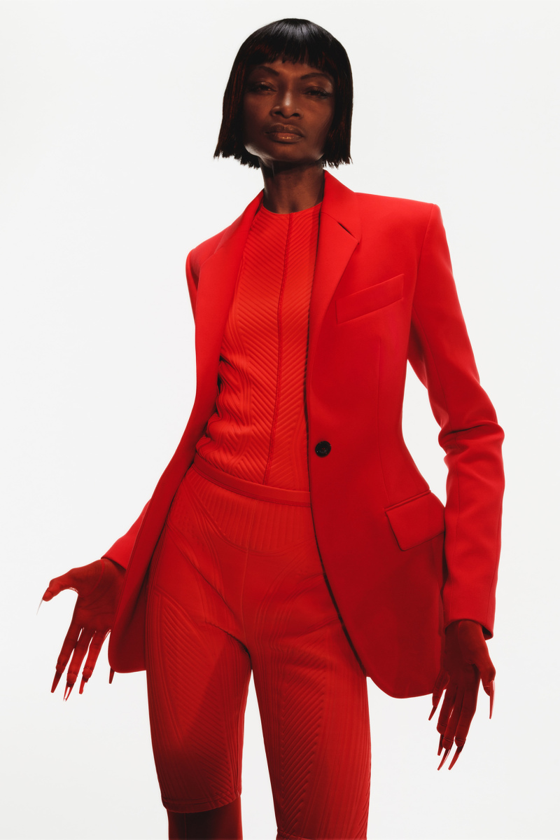 Mugler Campaign Tech Scuba Blazer in Red Bonded Scuba Cycling Shorts in Red Resort 20