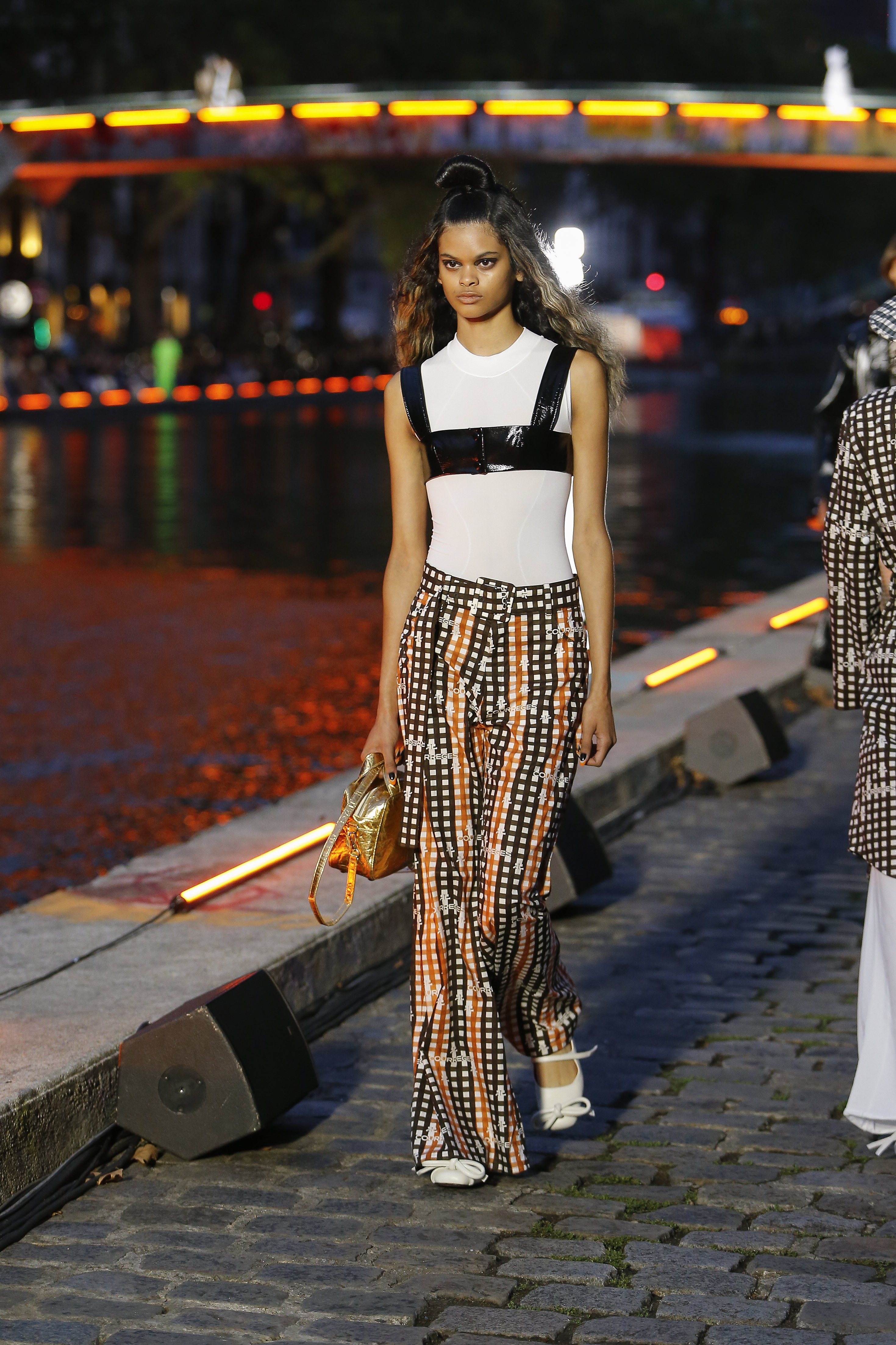 Courreges Runway Mesh Top in White Flagship Print Trousers in Black and Orange SS20