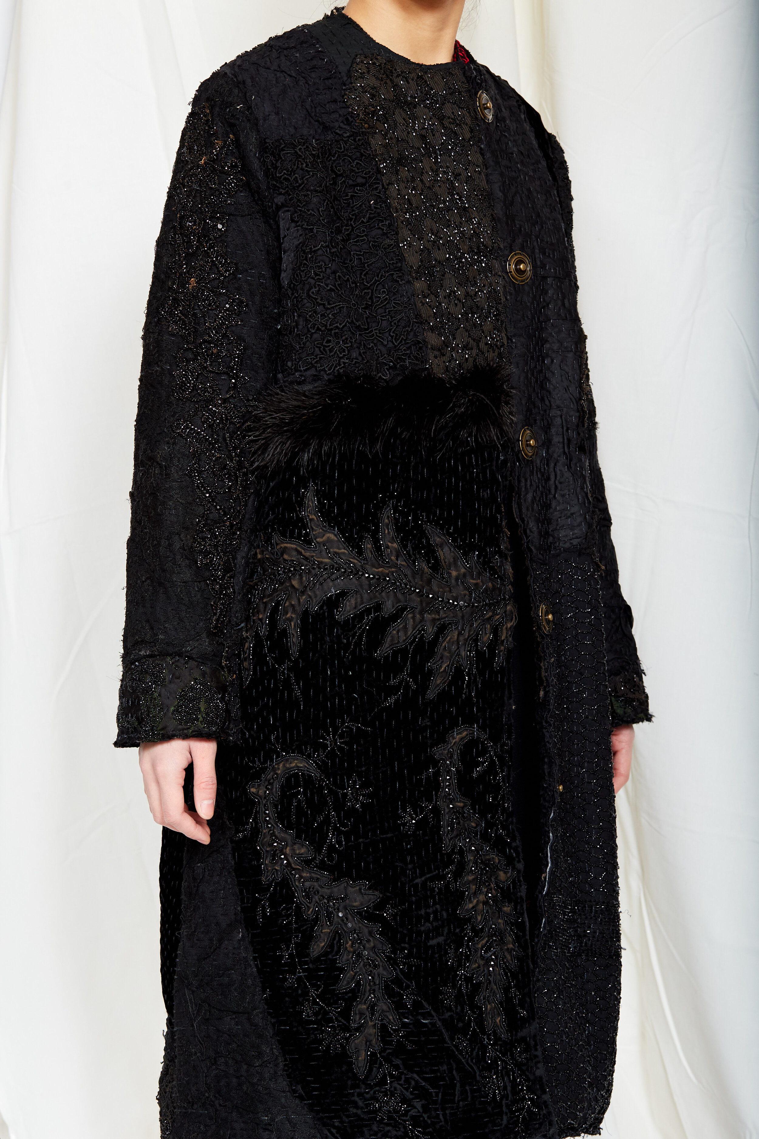 By Walid Womenswear Tanita Embroidered Coat in Black AW20
