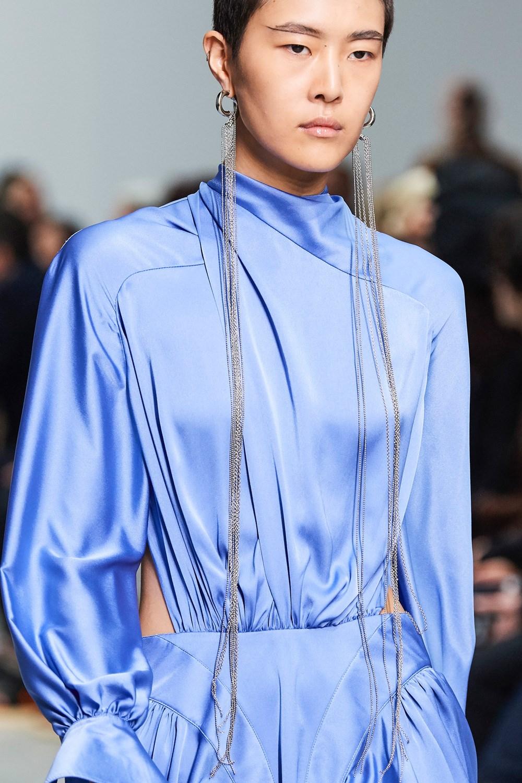 Mugler Runway Details Cowl Neck Long Sleeve Side Cutout Dress in Light Blue Spring 20