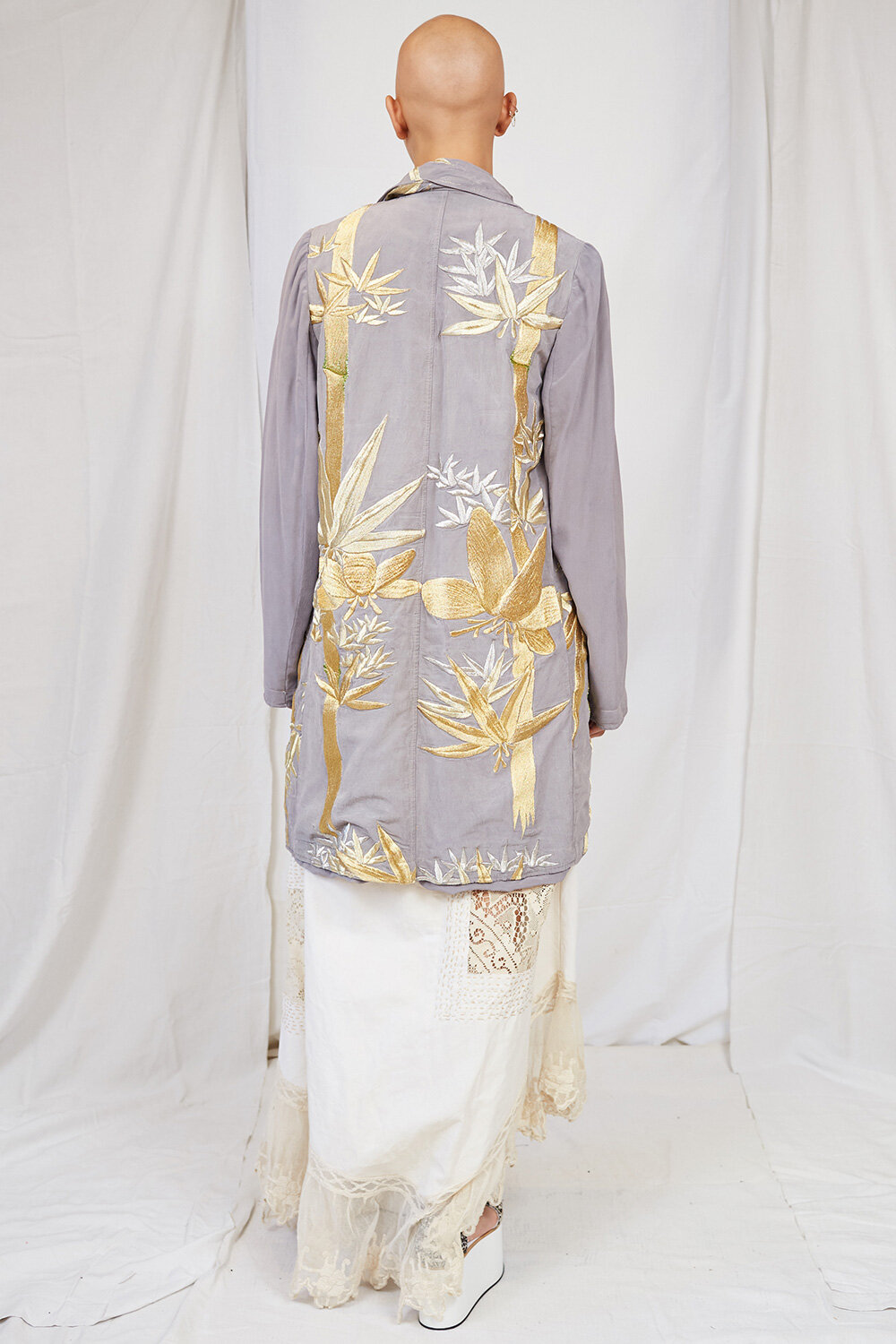 By Walid Womenswear Zosia Floral Embroidered Coat in Grey SS20