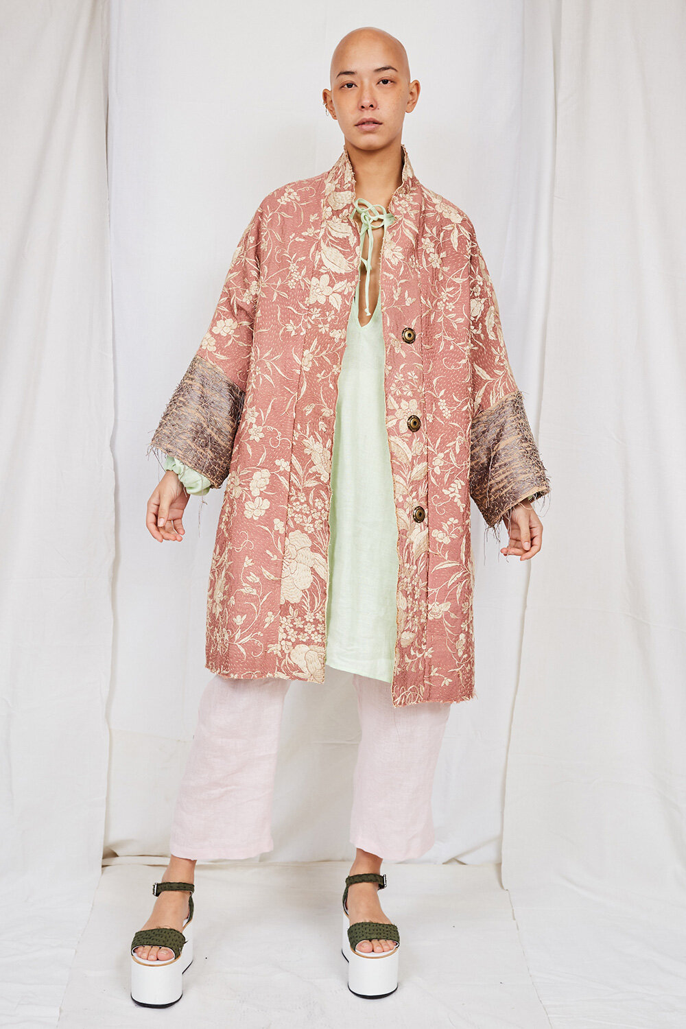 By Walid Womenswear Embroidered Silk Coat in PinkSS20