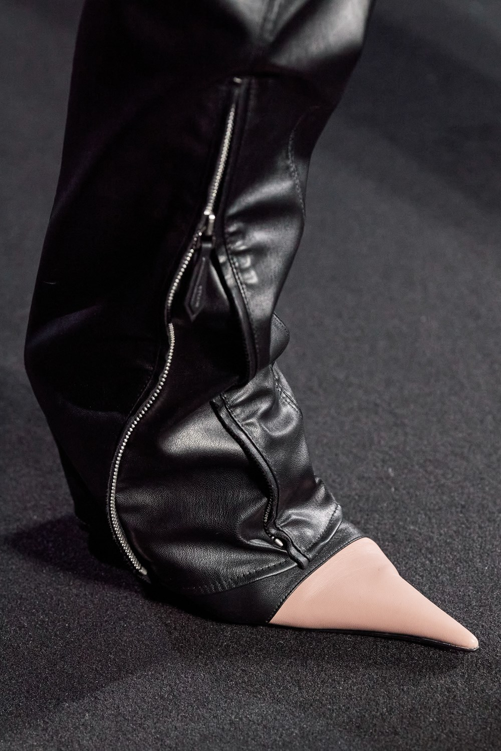 Mugler Runway Details Bottom Zip Leather Trousers in Black Leather Pointed Toe Heels in Peach Fall 20 RTW
