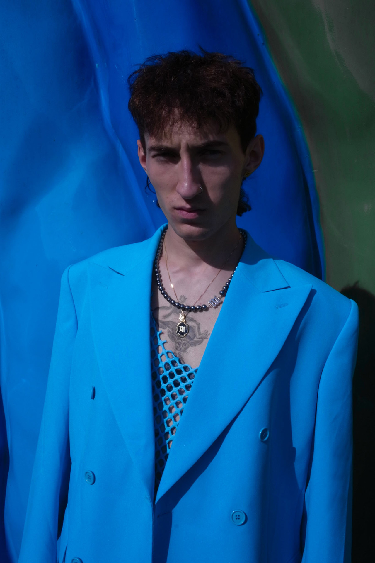 Misbhv Men's 80s Double Breasted Blazer in Turquoise Mesh Top in Turquoise SS20