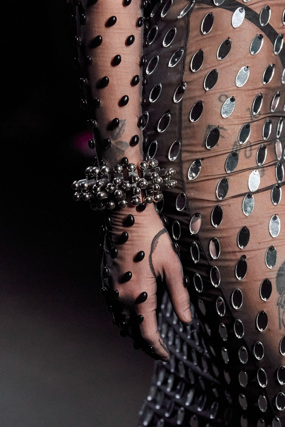 Mugler Runway Details Sequins Sheer Glove Sleeved Dress Fall 20 RTW