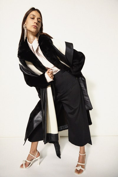 Ellery Sherling Coat in Black and White Oversized Cropped Trousers Fall 19 RTW