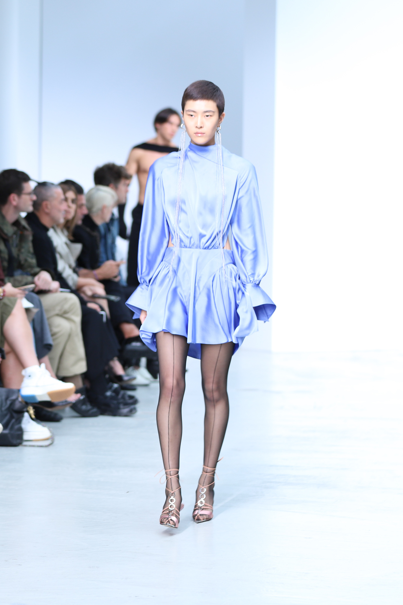 Mugler Runway Oversized Cuff Long Sleeve Ruffle Cut Out Dress in Light Blue Long Earrings Spring 20 RTW