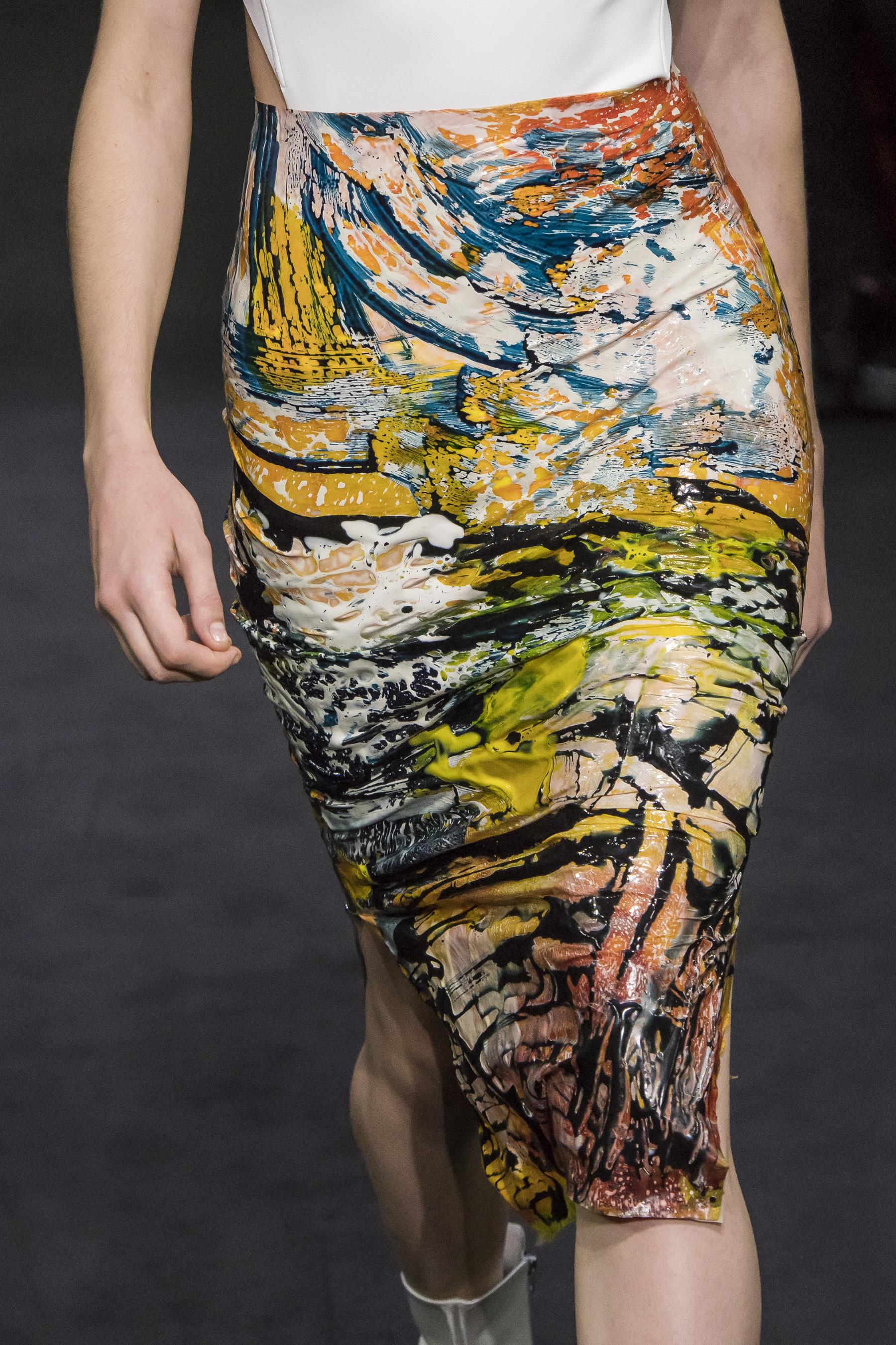 Mugler Details Vinyl Print Skirt Cut Out Back Bodysuit in White Spring 19