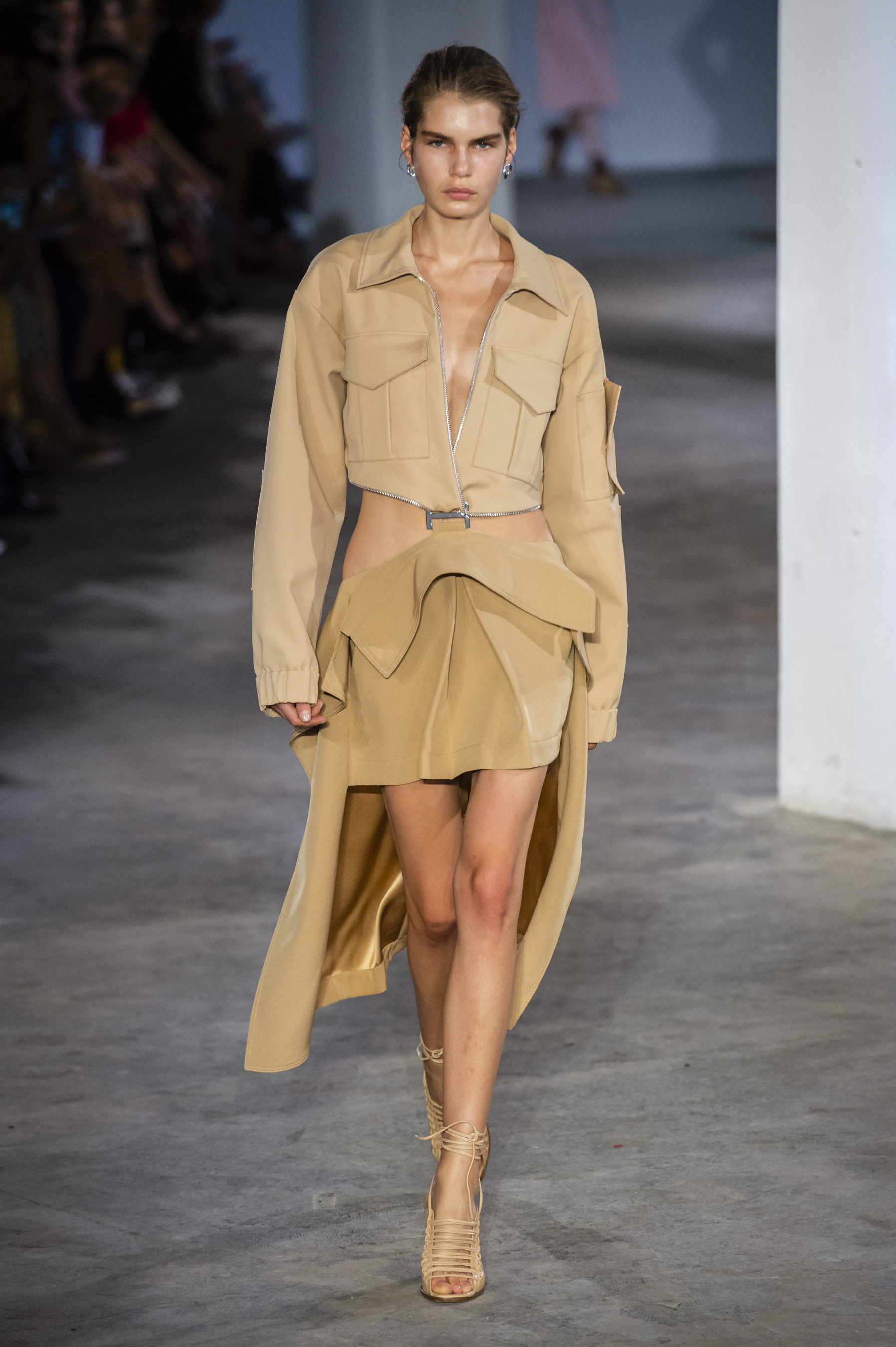 Dion Lee Runway Suspended Trench Skirt Jacket in Nude Spring 19 RTW