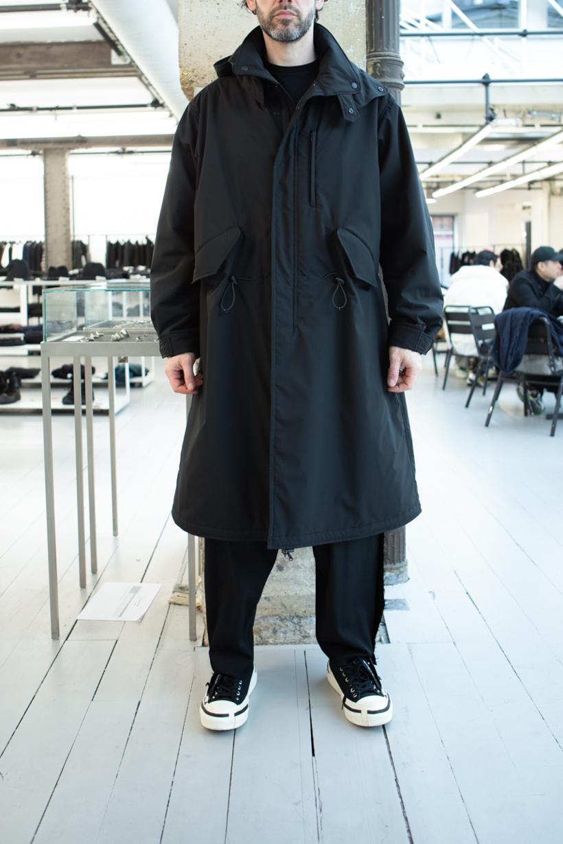 Yohji Yamamoto Hooded Parka Jacket in Black Loose Fit Raw Side Seam Trousers FW 20