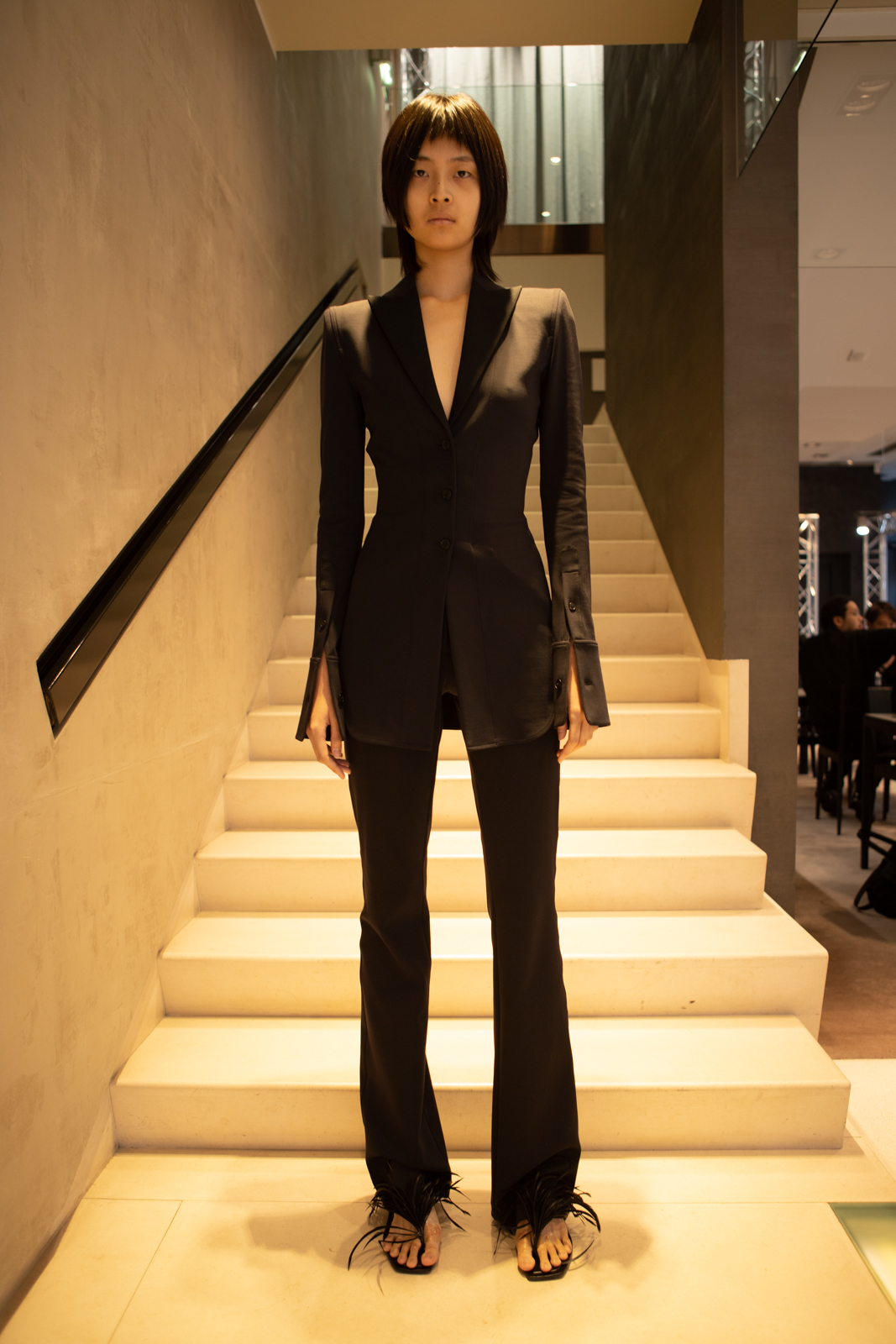 Alexander Wang Slim Fit Blazer in Black Slim Flared Pant in Black FW 20