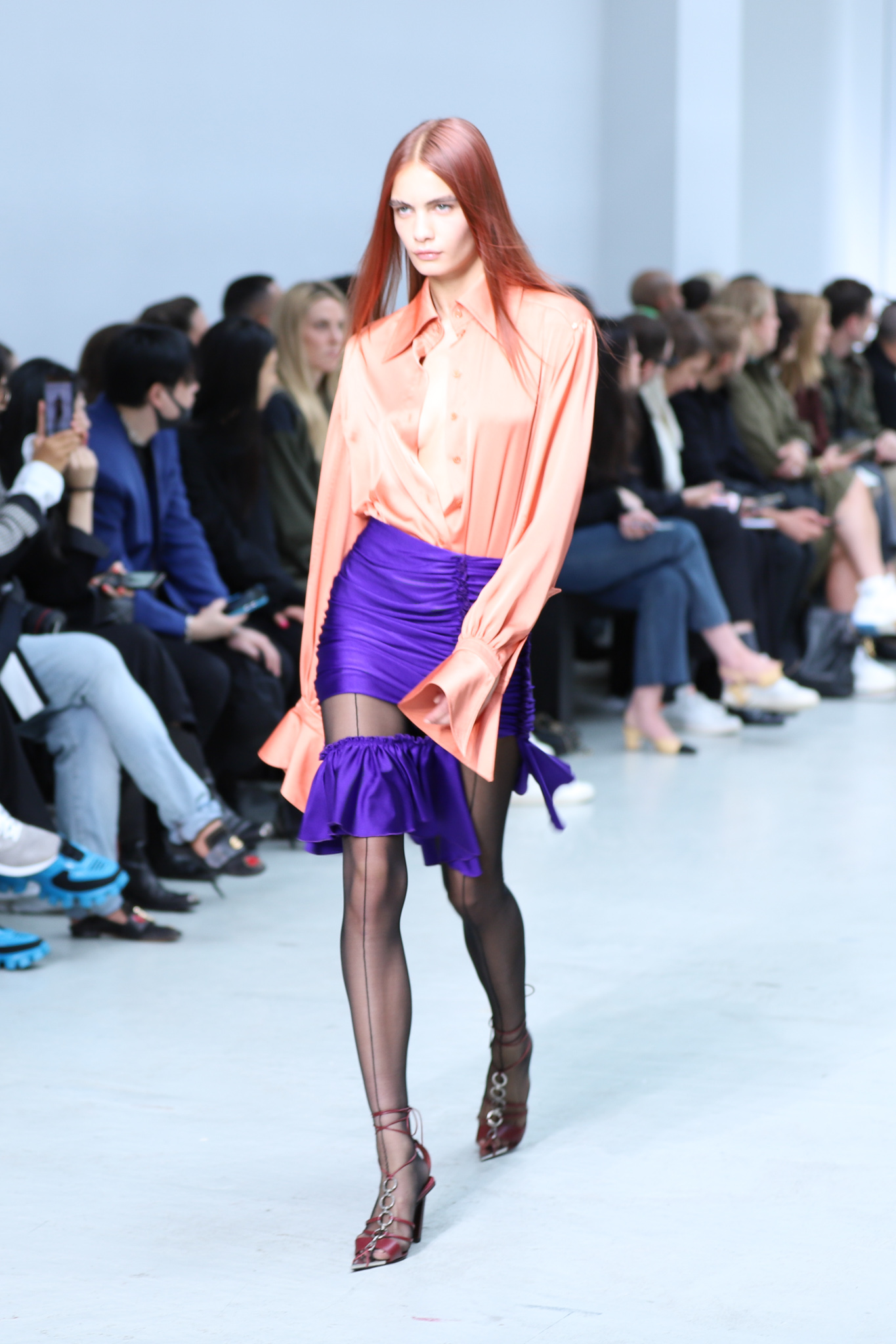 Mugler Runway Long Sleeve Sheer Button Up Bodysuit in Pink Cut Out Ruffle Skirt in Purple Spring 20 RTW