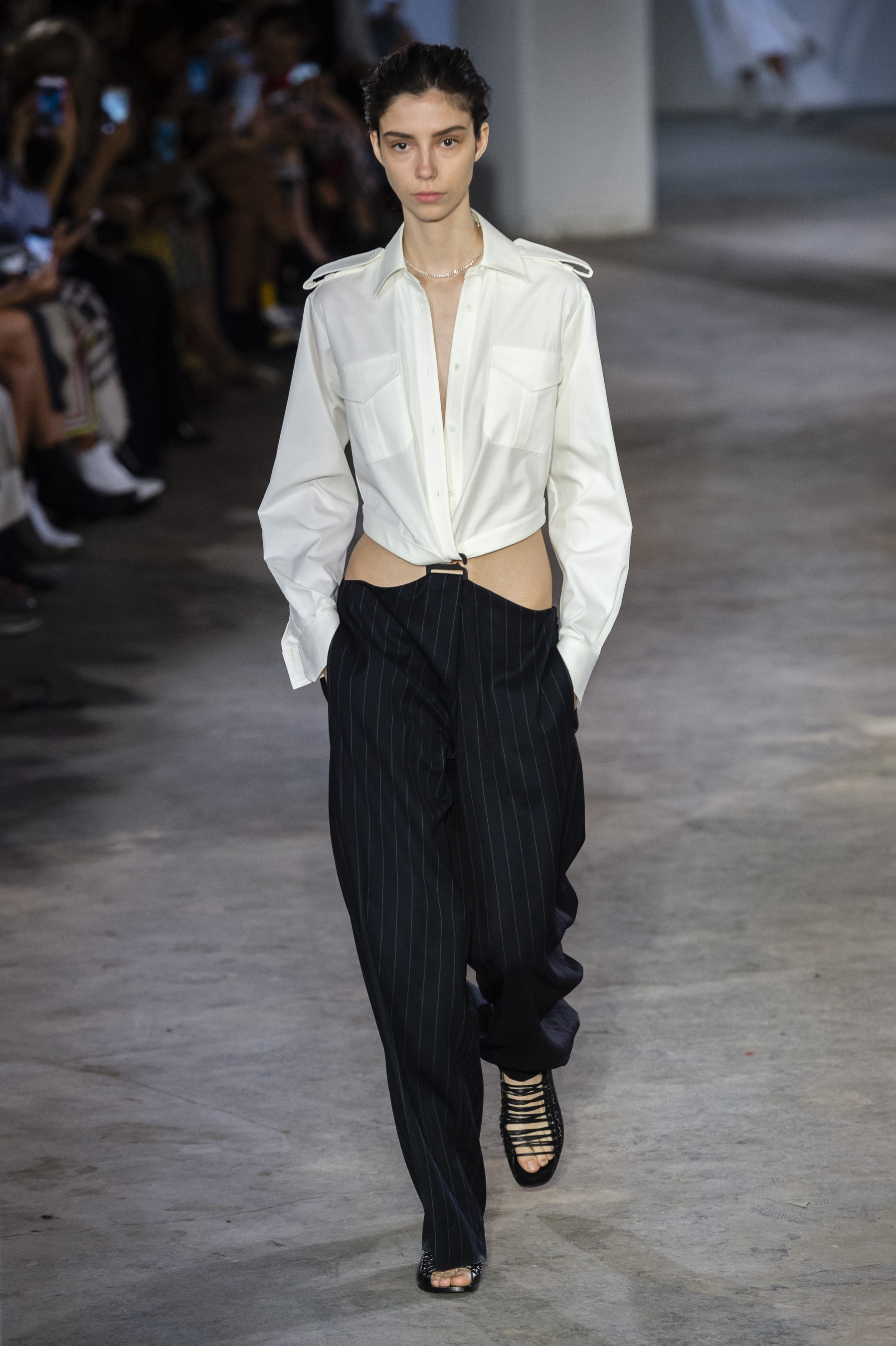 Dion Lee Runway Suspended Jumpsuit in White Collar Top and Pinstripe Navy Bottoms  Spring 19 RTW
