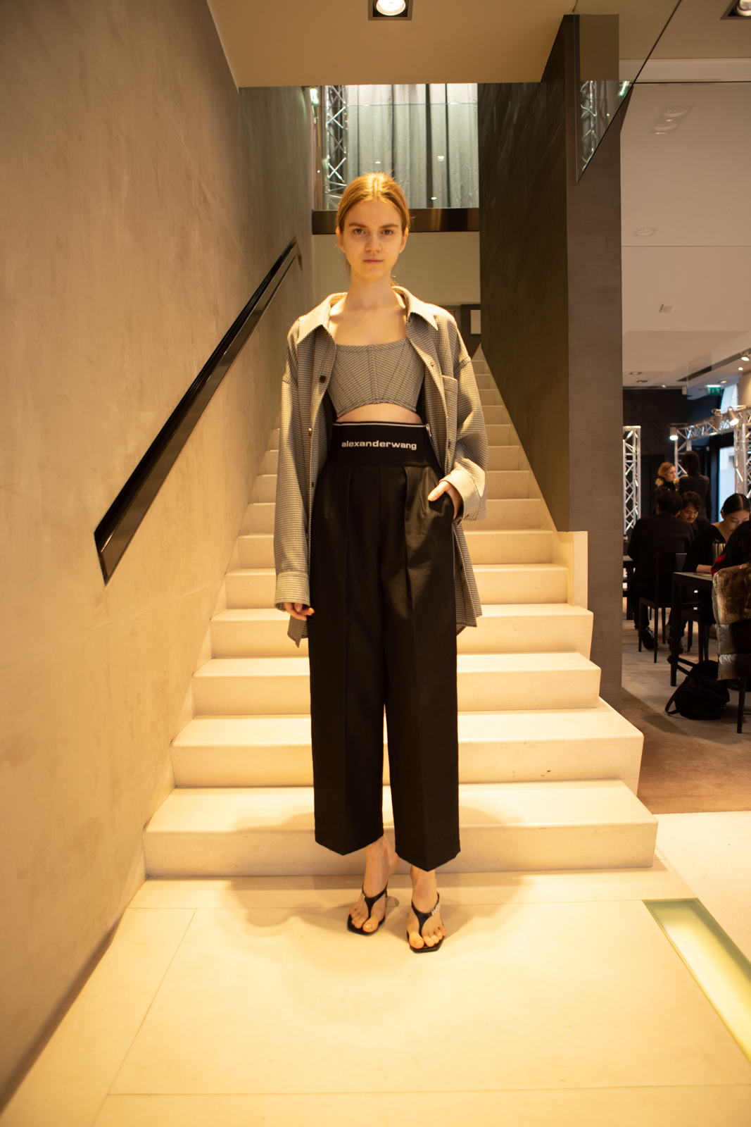 Alexander Wang Oversized Shirt Jacket in Grey Crop Top in Black Logo Elastic Carrot Pant in Black FW 20