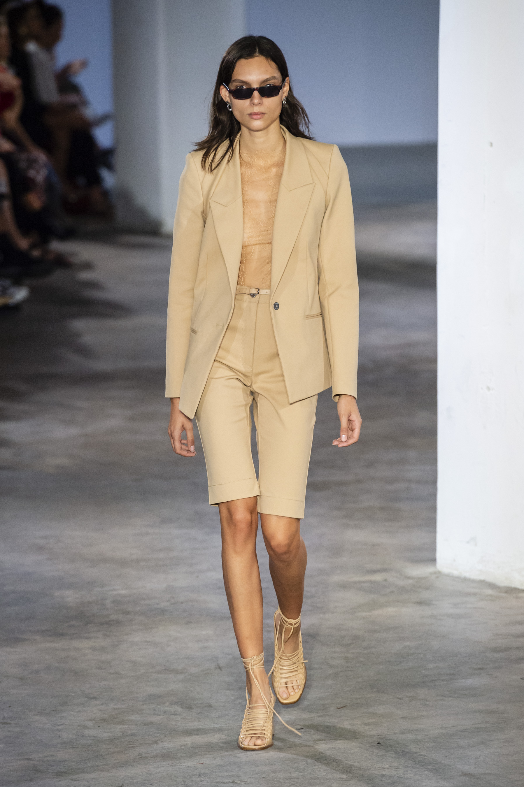 Dion Lee Runway Slim Blazer Lace Body Suit Over the Knee Shorts Tie Up Sandals Spring 19 RTW