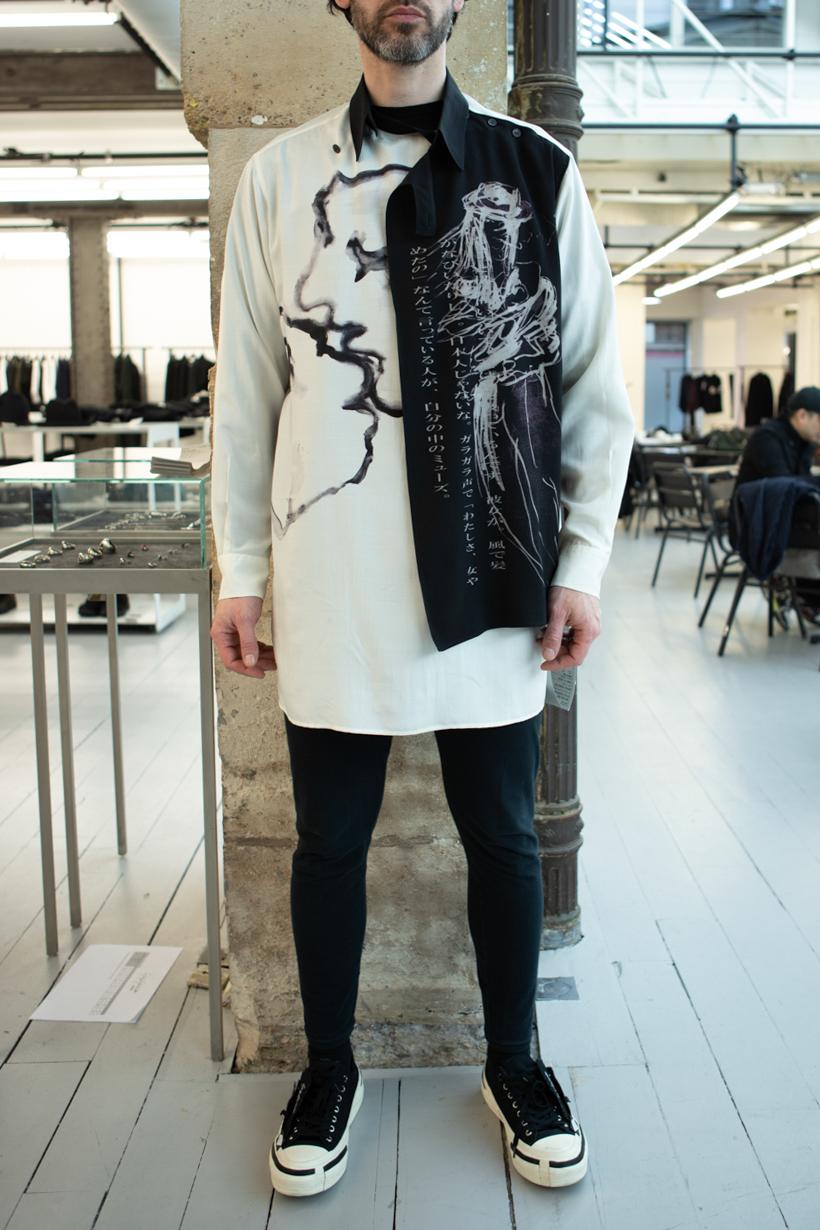 Yohji Yamamoto Fold Over Collared Print Shirt Skinny Sweatpants in Black FW 20