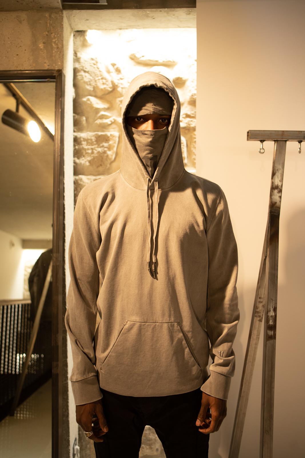 11 By Boris Bidjan Saberi Dye 11 Logo Hoodie With Mask in Grey FW20