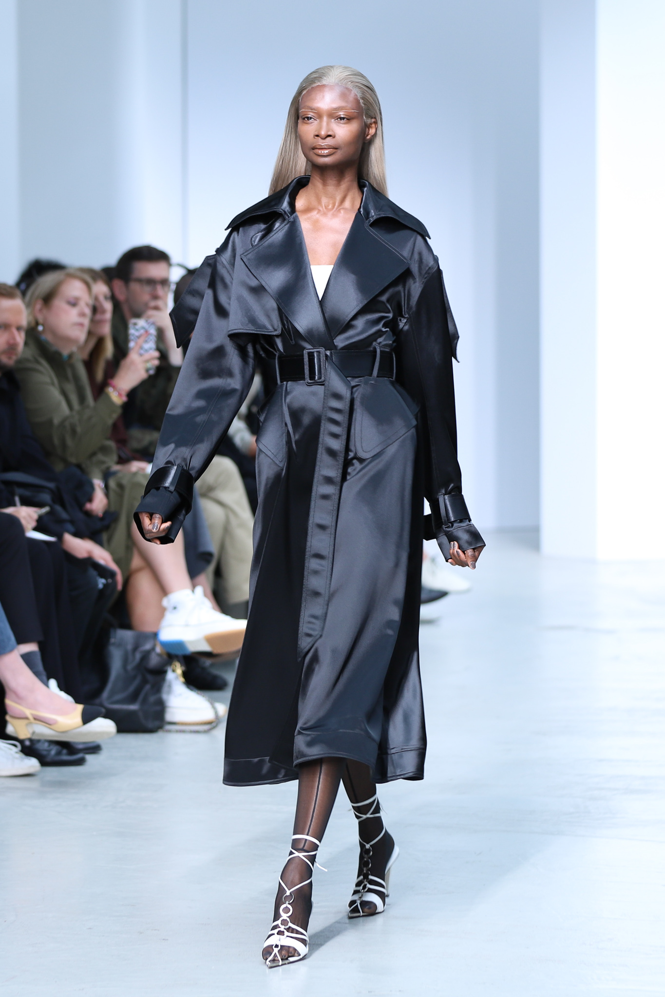 Mugler Runway Oversized Trench Coat in Black Tie Up Heels in White Spring 20 RTW