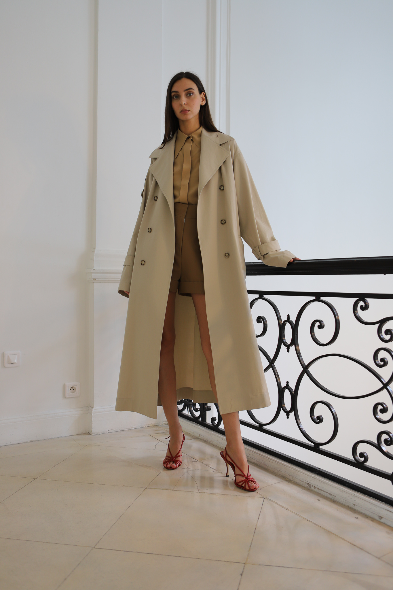 Victor Beckham Oversized Trench Coat Collared Shirt High Waisted Shorts in Brown Spring 20 RTW