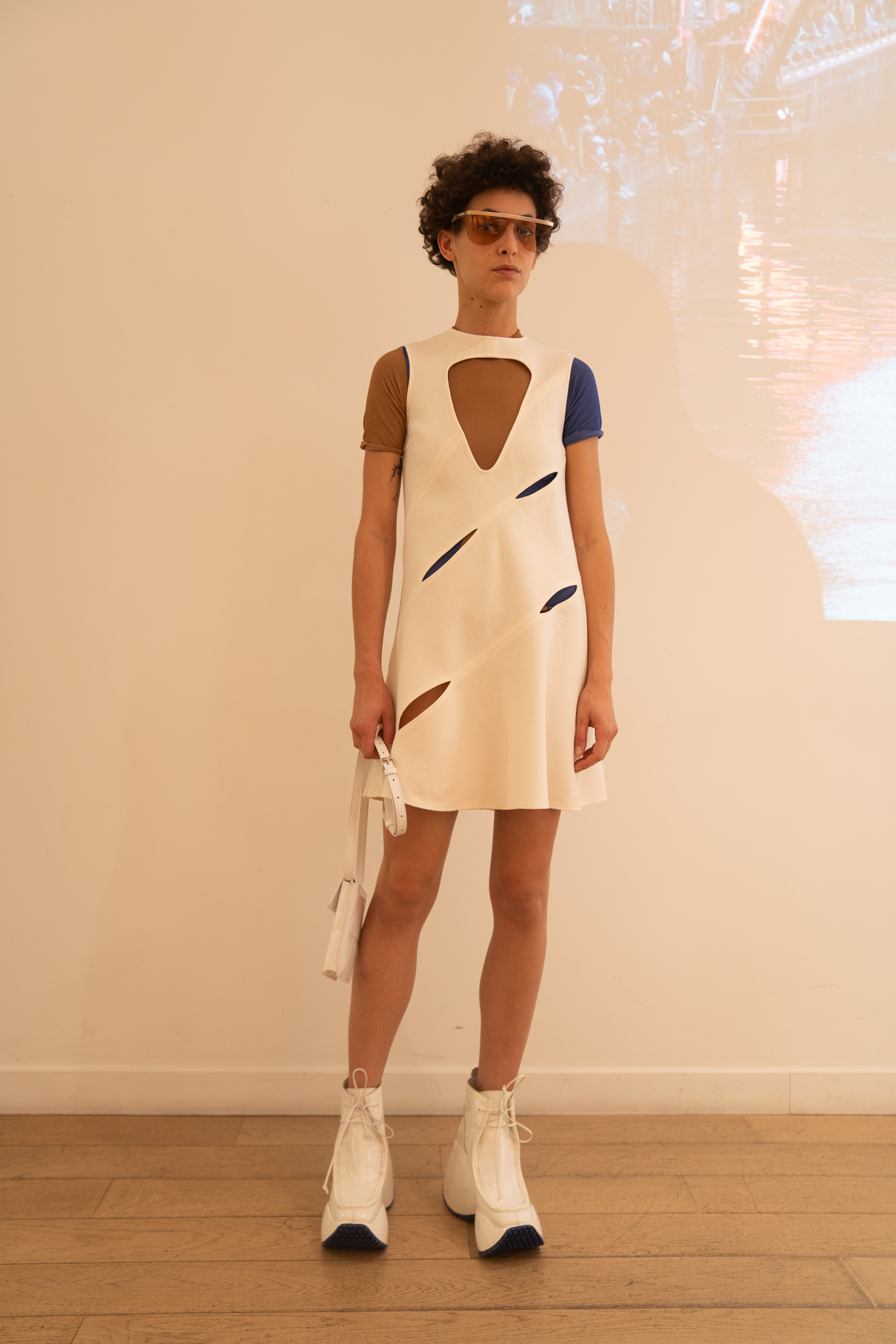 Courreges Cutout Multi Slit Dress in White Contrast Short Sleeve Shirt SS20