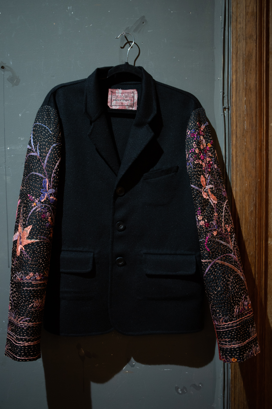 By Walid Embroidered Contrast Sleeve Coat FW20