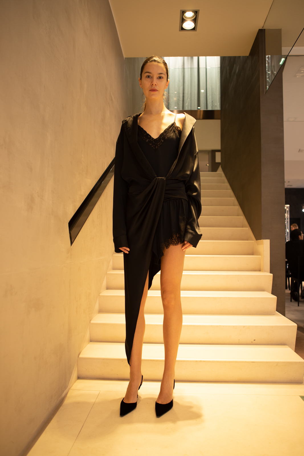Alexander Wang Asymmetrical Knot Dress in Black FW 20