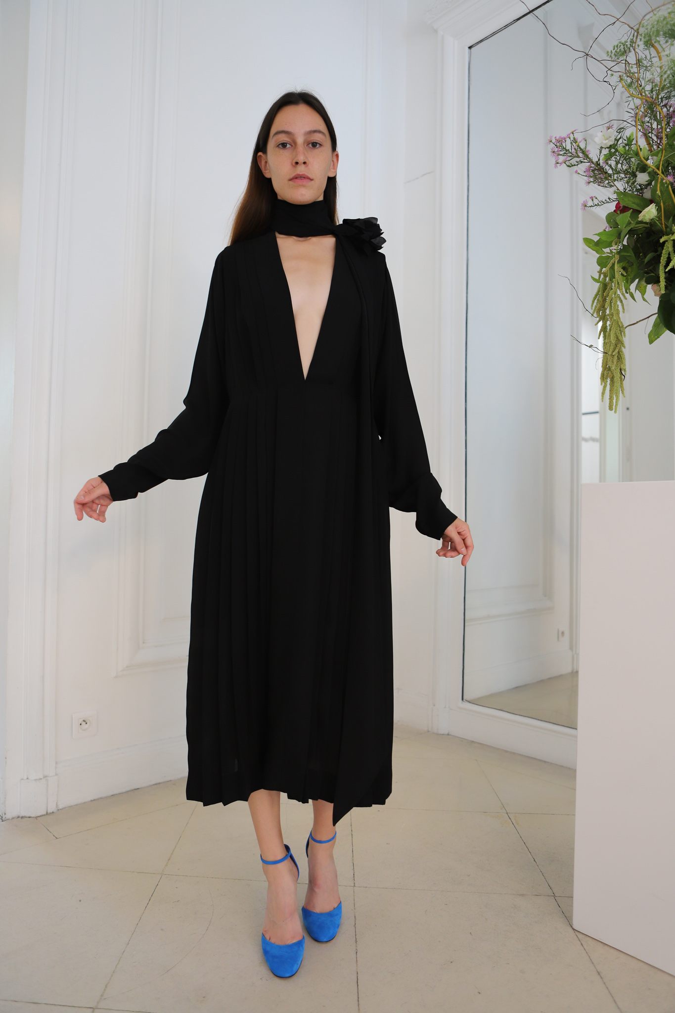 Victor Beckham Long Sleeve Turtleneck Cut Out Dress in Black	Spring 20 RTW