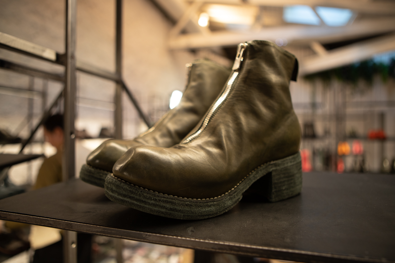 Guidi PL2 Front Zip Leather Boots in Olive FW20