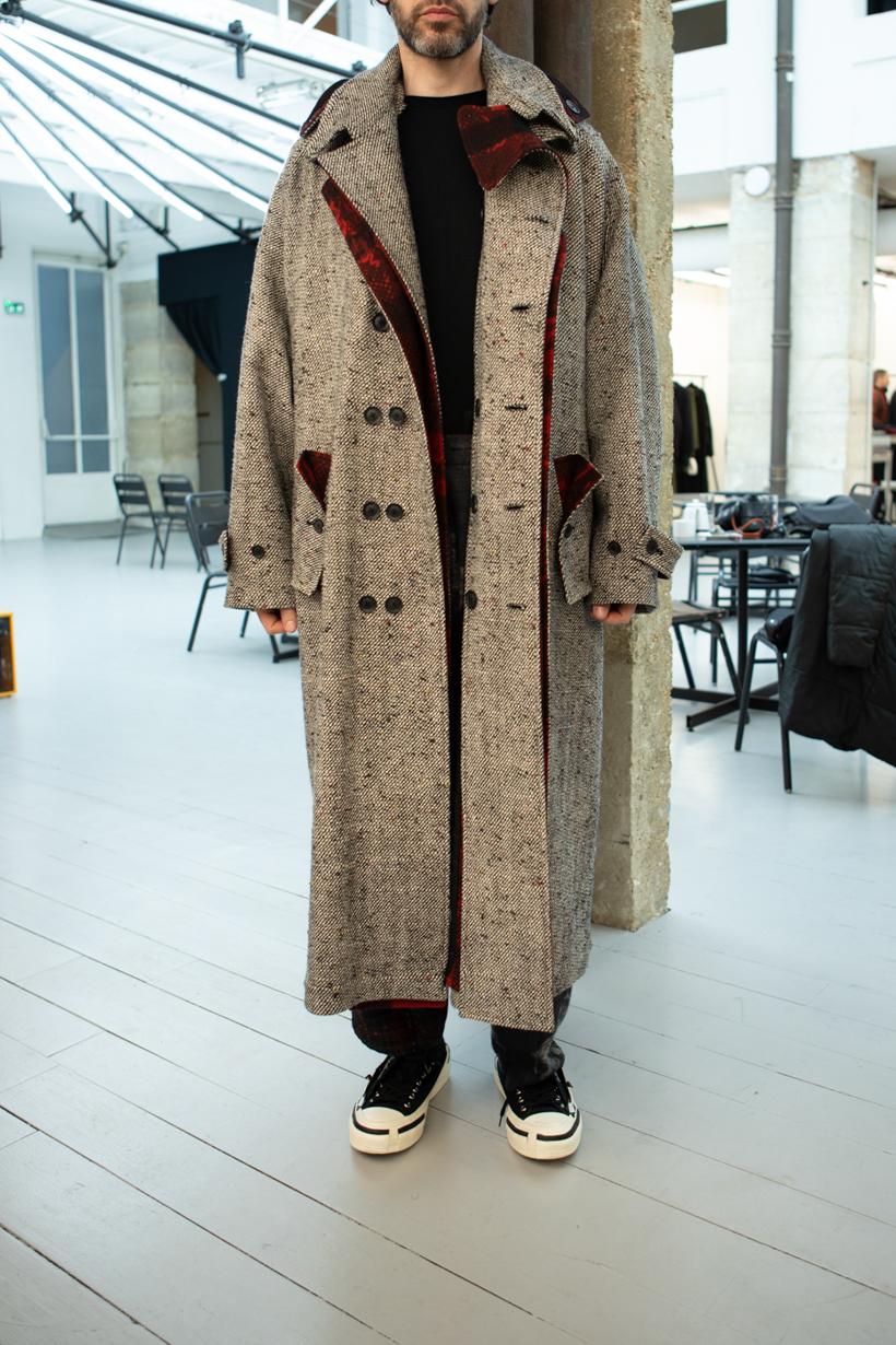 Yohji Yamamoto Oversized Flannel Lined Trench Coat FW 20